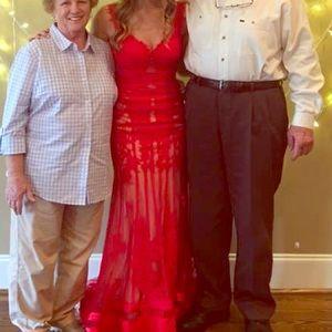Red Sherri Hill prom dress.
